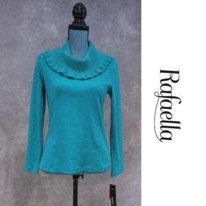 NEW Rafaella Blue Ruffled Cowl Neck Sweater Size M